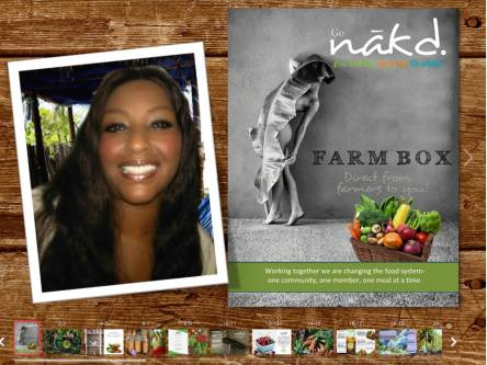 Founder of Go nakd, Leigh Lopez. The business's online brochure is also featured.