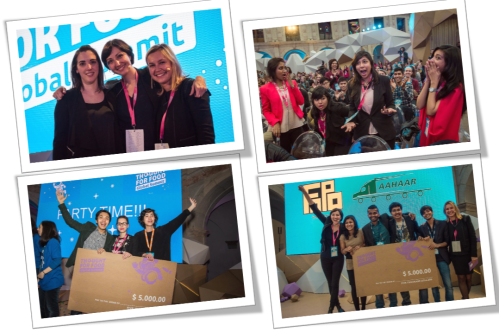 #TFFSummit Top Left: The women that change the world, Top Right: Winners Team Innovision, Bottom Left: Runner up Team FoPo, Bottom Right: winners of the special prize and runner up, Team Aahaar. Photos Courtesy Thought for Food